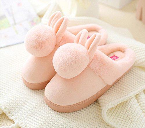 TDXIE Fondo pesante signora mezzo pacchetto con pattino caldo del fumetto Ostello peluche pantofole ciabatte , ball (pink) , 38-39