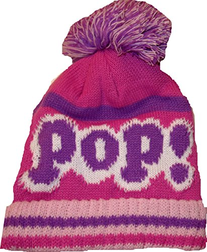 Pop White Pink Purple Beanie Hat Cap With Pom