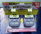Ryobi P122 ONE+ 18-Volt Lithium Plus High Capacity 4-Ah Battery (P108 2pk retail package)
