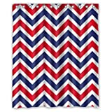 "Cool Modern Red Blue White Chevron Pattern New Waterproof Polyester Fabric Shower Curtain (60""x72"") Special Bathroom Decoration"
