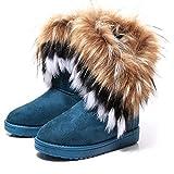 Gaorui women winter warm high long snow Ankle boots faux fox rabbit fur tassel shoes