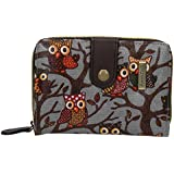 SwankySwans Classic Tree Owl Small Wallet in Grey
