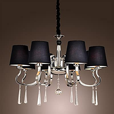 LightInTheBox Black Polish Style Chic Mordern LED Candle Chandelier Kitchen Ceiling lights Fixtures for Living Dining Room Bedroom Hallway Entry 8 lights