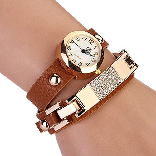 Women's Elegant Square Rhinestone Wrap Leather Bracelet Quartz Watch Dress Watches (Brown)