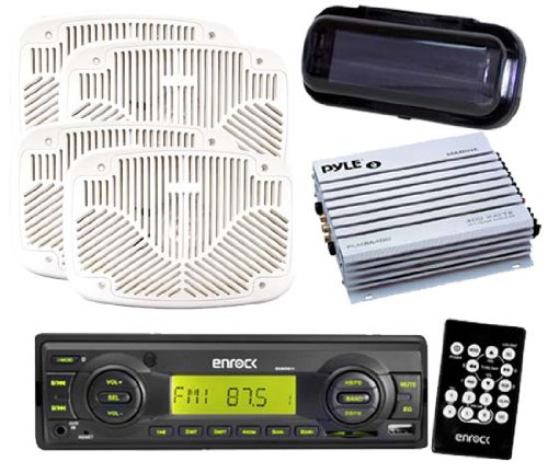 Enrock Outdoor Mp3 Radio Sd Card Function 4 6X9 Speakers W/Amp Cover Remote Pkg