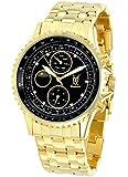 Konigswerk Herren Armbanduhr Gold Schwarzes Ziffernblatt mit Kristall-Marker Multifunktion Tag Datum Sonne Mond SQ201477G