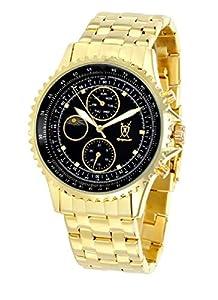 Mens Gold Bracelet Watch Black Dial Diamond Accent Multifunction Day Date Sun Moon Konigswerk SQ201477G