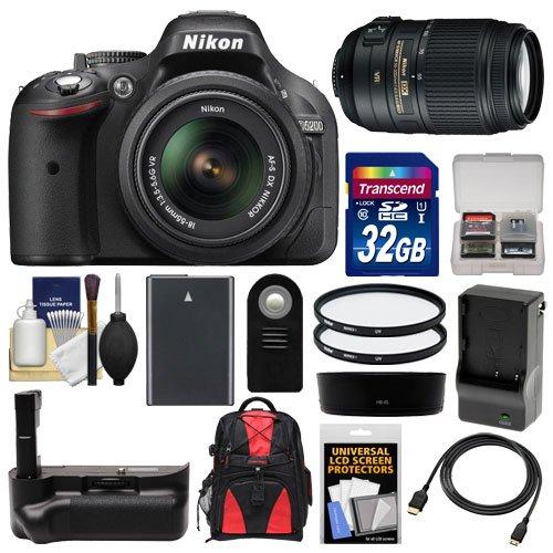 Nikon D5200 Digital Slr Camera & 18-55Mm G Vr Dx Af-S Zoom Lens (Black) With 55-300Mm Vr Lens + 32Gb Card + Backpack + Grip + Battery & Charger + Filters Kit