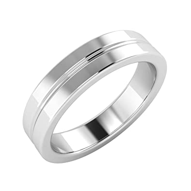 Solid 18Ct White Gold Plain Mens Ring / Men's Band- Free Engraving