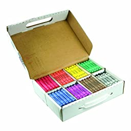 Prang Crayon Master Pack, Large Size, Box of 200 Crayons, 25 of Each Color, 8 Assorted Colors (32341)