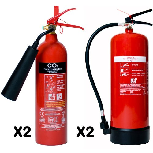 Special value pack 2x 2kg carbon dioxide & 2x 6ltr water fire extinguishers Office