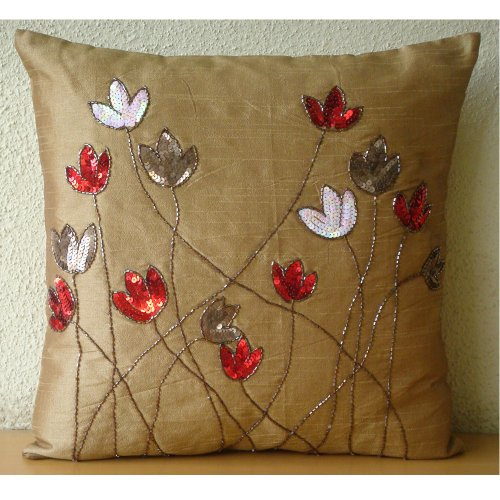 Tulip Sparkle - 26X26 Inches Square Decorative Throw Gold Silk Euro Sham Covers Embellished With Sequins front-915543