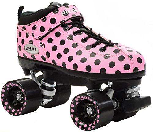 New-Riedell-Pink-Polka-Dot-Dart-Quad-Roller-Derby-Speed-Skates