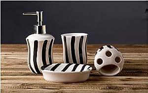 Bathroom accessory sets european minimalist for Black and white striped bathroom accessories