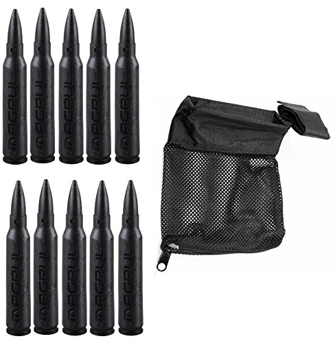 Magpul 215 Black 5.56 Pack Of 10 Dummy Ammo + Ultimate Arms Gear Tactical Deluxe Mesh Ar15 Ar-15 .223 5.56 Rifle Brass Shell Bullet Catcher Bag