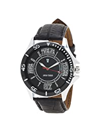 Swiss Trend Latest Black Dial Mens Watch With Genuine Leather Strap