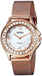 XOXO Women's XO5553 Rose Gold-Tone Watch with Rhinestone Accents