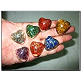 Wow Chakra Puffy Heart Shaped Orgone Set Healing Chakra Balancing EMF Protection Gemstone Divine Spiritual Love Bonding Gift Metaphysical Spiritual Elements Business Success Crystal Therapy Semiprecious Stones X-mas New Year Birthday Anniversary Event Reiki Massage Concentration Relaxation Meditation Superior Quality Best Seller (Color: Mix)