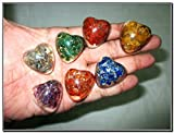 Wow Chakra Puffy Heart Shaped Orgone Set Healing Chakra Balancing EMF Protection Gemstone Divine Spiritual Love Bonding Gift Metaphysical Spiritual Elements Business Success Crystal Therapy Semiprecious Stones X-mas New Year Birthday Anniversary Event Reiki Massage Concentration Relaxation Meditation Superior Quality Best Seller