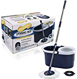 2016 NEW & IMPROVED VERSION Spin Mop and Bucket System by Moprite - Dual Function System for Spin Washing and Drying - No Foot Pedal Needed - Includes Microfiber Mop Head and Scrub Brush - Satisfaction Guaranteed!