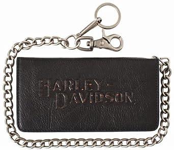 Harley-Davidson Men's Black Biker Bifold Wallet with Chain VM2022L-BLK