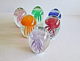 6 Assorted Color Mini Jellyfish Paperweight Glass Sculpture glow in the dark by GII