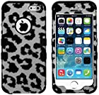 myLife Black - Gray and Black Leopard Spots Series (Neo Hypergrip Flex Gel) 3 Piece Case for iPhone 5/5S (5G) 5th Generation Smartphone by Apple (External 2 Piece Fitted On Hard Rubberized Plates + Internal Soft Silicone Easy Grip Bumper Gel)