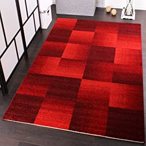 Designer Carpet Modern Home Rug Checkered Squares in Red from PHC