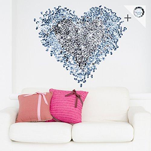 Adesivo murale no.421 Diamond Heart + 15 CRYSTALLIZED(TM) Swarovski-Stones Set, tatuaggio per parete, tatuaggi da parete, adesivo per pareti, sticker murale,