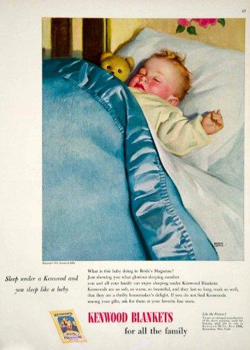 1949-ad-andrew-loomis-kenwood-wool-blanket-sleeping-baby-bed-pillow-teddy-bear-original-print-ad