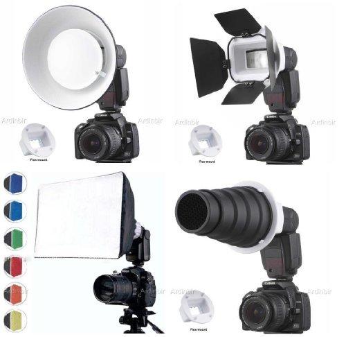 Flash Gun Strobies Flex Mount Modifier, Adapter Kit with Softbox, Diffuser, Beauty Dish Reflector, Snoot, Honeycomb, Barndoor for Canon 580EX II, 580EX, 550EX, 430ez; Sony HVL-F32X, HVL-F58AM; Olympus FL-50R; FL-50; Nikon SB-25; Vivitar 283; Sunpak 730Afpk
