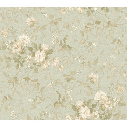 York Wallcoverings Painted Garden Aged Floral Branch Prepasted Wallpaper, Spa Green/Shimmering Champagne front-502676