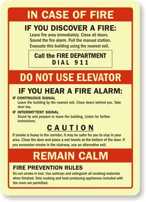 "In Case Of Fire, Call The Fire Department Dial 911, Do Not Use Elevator, GlowSmartTM Glow-in-the-Dark Adhesive Sign, 7"" x 5"""