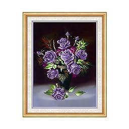 5D Diamond Painting Cross Stitch Dining Room Purple Rose Vase Bedroom Vertical Magic Cube Diamond Full-jewelled Living Room