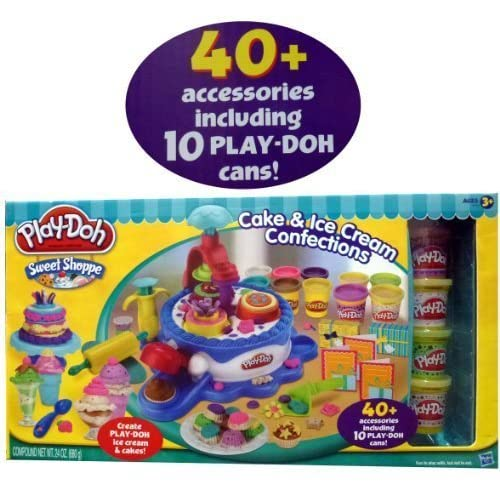 Play-Doh Sweet Shoppe Cake & Ice Cream Confections 40+ Accessoried + 10 Cans of Play Doh by Hasbro TOY (English Manual)