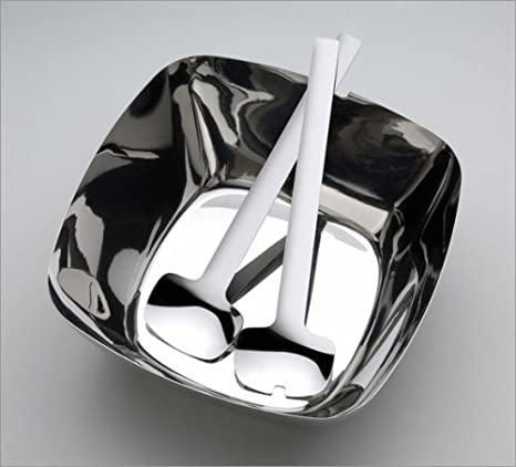 Alessi Tibidabo Salad Server Set and Ioto Serving Bowl by Kristiina Lassus