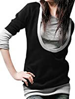 Allegra K Women Long Sleeve Drawstring Pullover Hoodie Hooded Tunic Tops