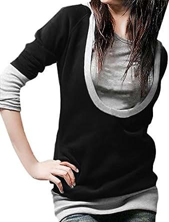 Allegra K Women Long Sleeve Drawstring Pullover Hoodie Hooded Tunic Tops