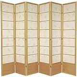 Oriental Furniture 7 ft. Tall Botanic Shoji Screen - 6 Panel - Natural
