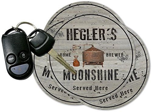 HEGLER'S Home Brewed Moonshine Coasters - Set of 4 pavone family crest square coasters coat of arms coasters set of 4