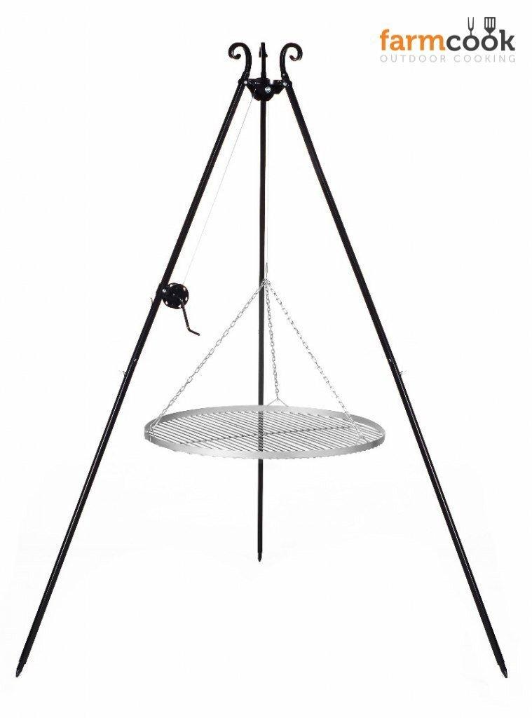 Dreibeingrill Höhe 192cm mit Kurbel und Edelstahlrost Durchmesser 50cm günstig online kaufen