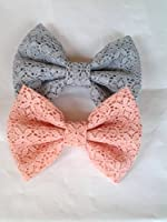 SET OF 2- GRAY LACE AND PEACH LACE SMALL BOW HAIR CLIPS