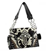 Black Cowprint Cross Conceal and Carry Purse