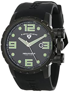 Swiss Legend Men's 30021-BB-01 Ambassador Black Dial and Black Silicone Watch