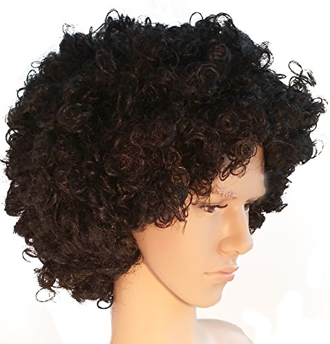 Black Curly Big Afro Costume Wig Funky 70s Style for Men and Women