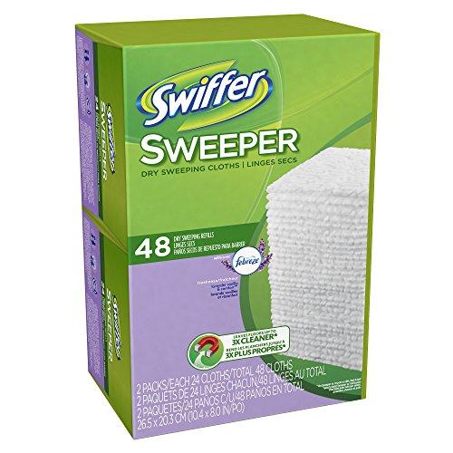 Swiffer Sweeper Dry Sweeping Cloths Mop And Broom Floor Cleaner Refills Febreze Lavender Vanilla & Comfort Scent , 48 Count