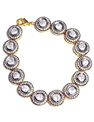 Gehna White Sapphire Gemstone Studded Bracelet Made In .925 Solid Silver - B00R94N3AE