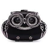 Women's Luxury Evening Purse,RUFFRYDER Ladies Mini Hard Case Crossbody Handbag Chain Clutch Rhinestone Owl for Wedding Evening Party,638#Black