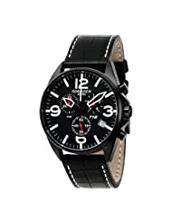 Torgoen Swiss Men's T16101 Aviation Chronograph Black Dial Leather Strap Watch