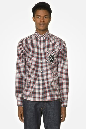 L!VE Long Sleeve Plaid Shirt With Novelty Crest